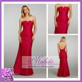 2015 vintage nobre best-seller sem mangas de cetim vermelho apertado vestido da dama de honra