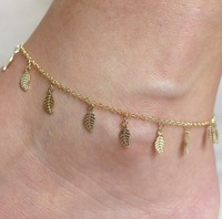 fashion cheap gold chain tiny leaf anklet for footwear jewelry ANK798-011