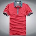 Pólo dos homens T camisa, Atacado de manga curta tecido camisa gola Polo
