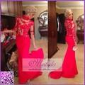 caliente y elegante señoras vestido de fiesta de alta del cuello de manga larga roja sirena vestido de noche