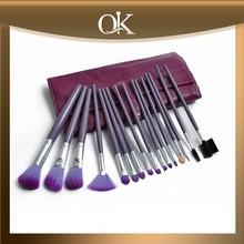 QK beatutiful nylon hair professional cosmetic brush set with bag in gold