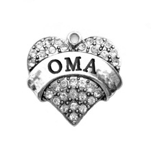 Various Colors Crystal Heart Charms With Custom Word OMA For Jewelry Accessory