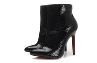 high heel steel pointy toe ankle boots black patent leather boots woman