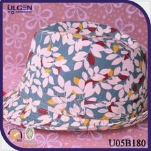 Winter flowers leaves hat jazz cap wool felt fedora floppy hat