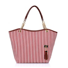 stripe canvas handbags, promotional canvas beach bag,canvas tote bag with pu leather handle