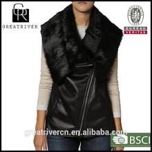 2014 faux fur women warm fur collar leather and fur vest