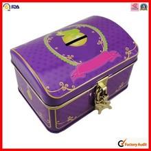 with lock children money coin bank tin box