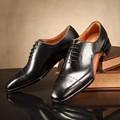 Alta- final dos homens de couro camada superior de couro sapatos de ponta feitos homens sapata de vestido