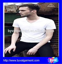 Custom wholesale hot sale pure cotton short sleeve V neck plain white t-shirt for men