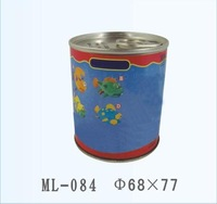 D68*77mm Round Tin Coin Bank with Side insert hole
