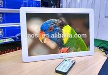 15.4 inch electronic photo frame support RM / RMVB / MKV / MOV / M4V / MPG / FLV / PMP / AVI / VOB / DAT / MP4 / 3PG.