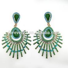 2015 Fashion Factory Wholesale Green Beaded Peacock Drop Big Chandelier Beaded Earrings