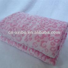 Super soft fluffy pink leopard grain embossed coral fleece blanket throw