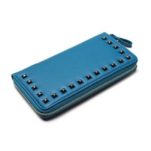 Fashion Leather Wallet, Lady Clutch Wallet with Rivets, Money Clip Wallet with Credit Card Holder and Coin Purse