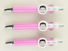hospital promotion plastic cartoon pen for doctor or nurse icon printing on the round board