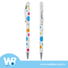 High quality slim dotted metal ball pen with crystal on top