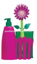 flower dish brush with soap dispenser and sponge
