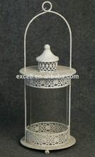 Vintage lamp iron&glass white wash lantern