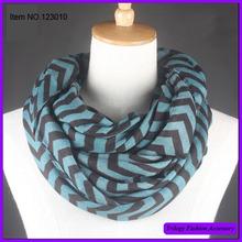 Fashion black blue striped cotton loop scarf.