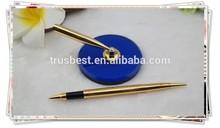 TT- 08 luxury golden desk pen holder, long table pen with round holder