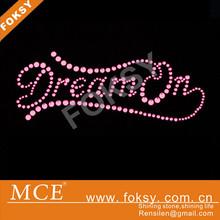Pink motif hotfix rhinestone dream on design
