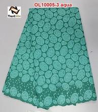 New party dress fabrics silk fabric for sale embroidered organza bridal fabric OL10005 aqua