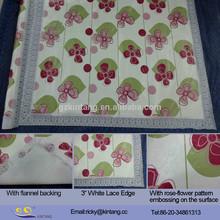 Elegant Decorative Flannel backing Lace PVC Table Cloth