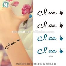 "HC-39/Eco-friendly waterproof temporary tattoo sticker ""i am queen"" design"