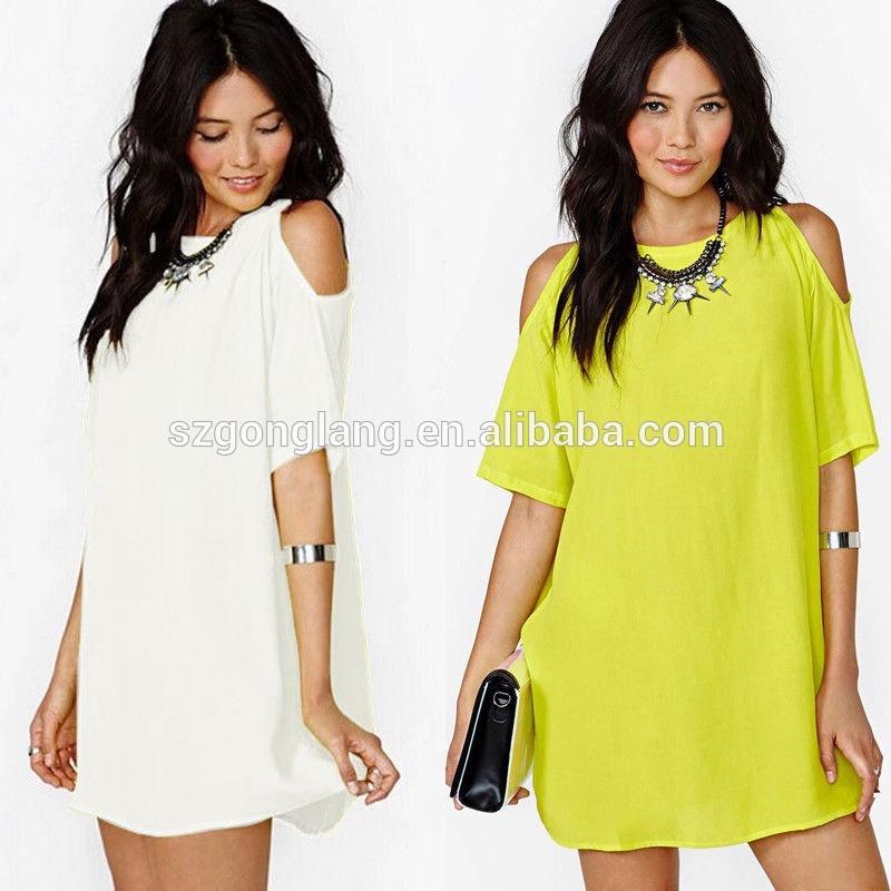 Hot! мода женщин свободного шифона T рубашка топы платье с коротким рукавом