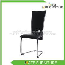 metal legs black pu leather modern dining chair