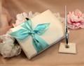 tiffany blu cravatta a farfalla libro degli ospiti firma libro e portapenne