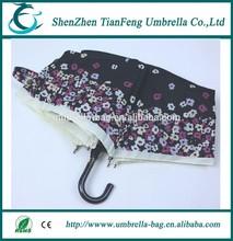 19inch * 6 k mini 3 fold umbrella manual open hot sell 3 fold umbrella with flower printing