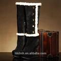 buena calidad de invierno botas hechas a mano del cuero genuino fresco botas de dama de moda zapatos de tacón alto botas hasta la rodilla con pieles