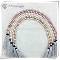 Moda jóias 8.5-12.5mm rodada couro multicolor colar de pérolas