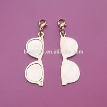 2D sunglasses shaped gold color metal pendant zipper sliders