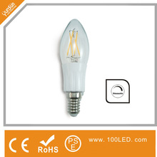 full 360 degree beam angle e14 dimmable filament led candle