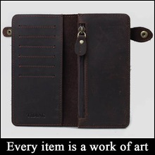 (sz-wallet 91) vintage wallet to import genuine crazy horse leather long wallet men