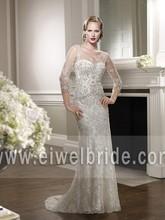 Sell Well Mermaid Shining Beading See Through Back Tulle wedding dress long sleeve 67076