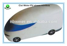 12x5x5.5cm promotional gift PU minibus stress ball/personalized PU material minibus/soft toy PU anti stress ball minibus