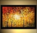 مشرق الذهبي لوحات تجريدية شجرة وحة زيتية سكين
