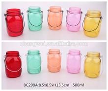 300ml 500ml glass mason jar with sprayed color