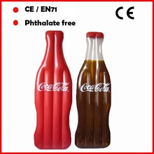 Cocacola drinking bottle shape inflatable air mattress for promotion on beach summer fun