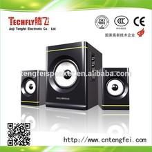 Nice Design Hi-fi speakers, 2.1 subwoofer speakers,2.1 computer speaker USB/SD/FM/REMOTE Gold Bridge TF-829
