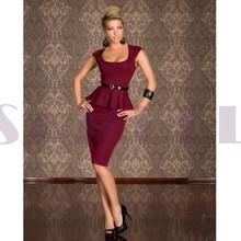 h9052-2 sexy dark red peplum wedding dress with waist belt