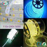 White color 60led outdoor lighting IP67 led strip 110volts rgb high voltage AC 110 220V led strip smd 5050 led