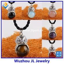 Tiger's Eye Amethyst Agate GEM Gemstone Bead Owl Bird Pendant Charm Fit Necklace