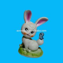 de porcelana blanca mate conejito conejo azul la figura del pájaro
