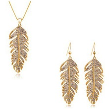 Gold And Silver Brand Rhinestone Leaf Necklace