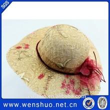 Long Brim Beach Summer Sunhat Flower Printing Large Straw Hats