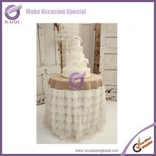 k3915 elegant round sparkle organza cake table cloth with skirt